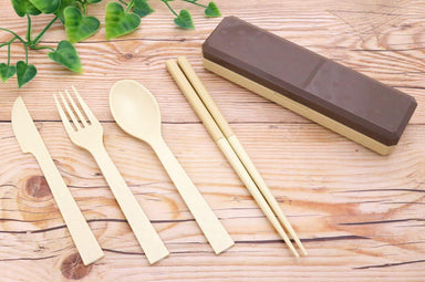 GO OUT Cutlery | Brown Olive by Kokubo - Bento&co Japanese Bento Lunch Boxes and Kitchenware Specialists