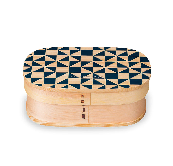 Life Is Beautiful Wappa Bento Mosaic Kutsuwa Navy by Showa - Bento&co Japanese Bento Lunch Boxes and Kitchenware Specialists