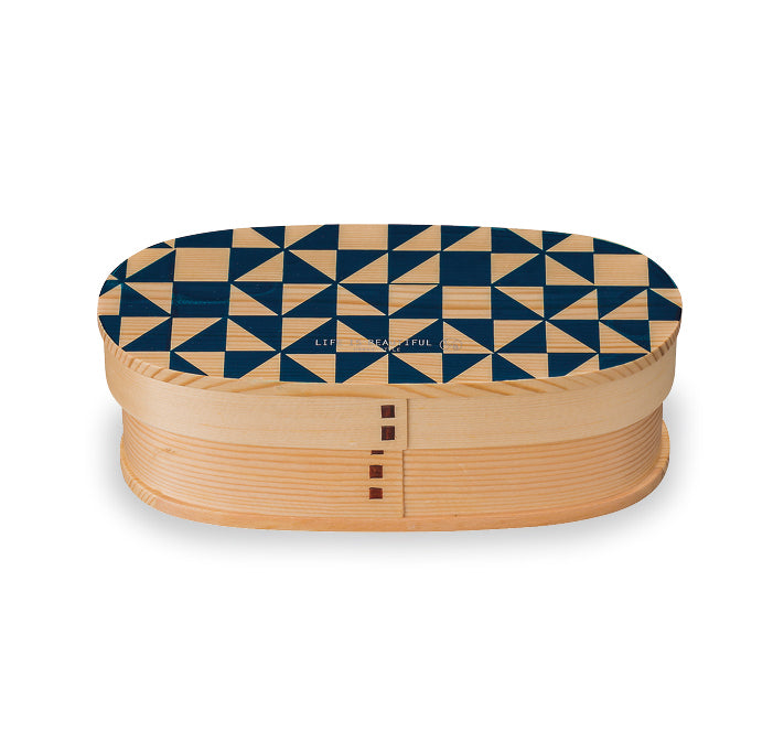Life Is Beautiful Wappa Bento Mosaic Navy 450ml by Showa - Bento&co Japanese Bento Lunch Boxes and Kitchenware Specialists