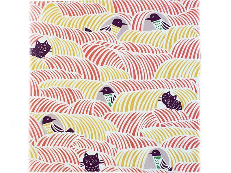 Furoshiki Wrapping Cloth Cats & Birds | Pink