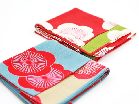 Furoshiki Ume Red & Green by Yamada Seni - Bento&con the Bento Boxes specialist from Kyoto