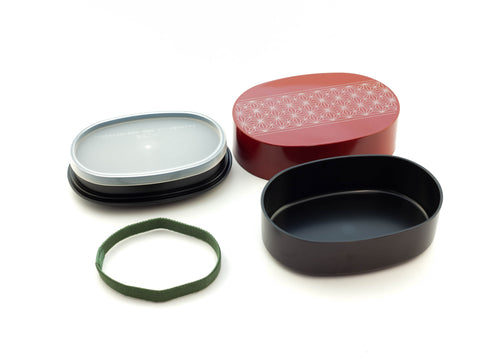 Asanoha Leaf Oval Bento | Red by Sabu Hiromori - Bento&con the Bento Boxes specialist from Kyoto