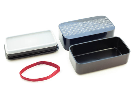 Asanoha Leaf Rectangle Bento Box | Navy by Sabu Hiromori - Bento&con the Bento Boxes specialist from Kyoto