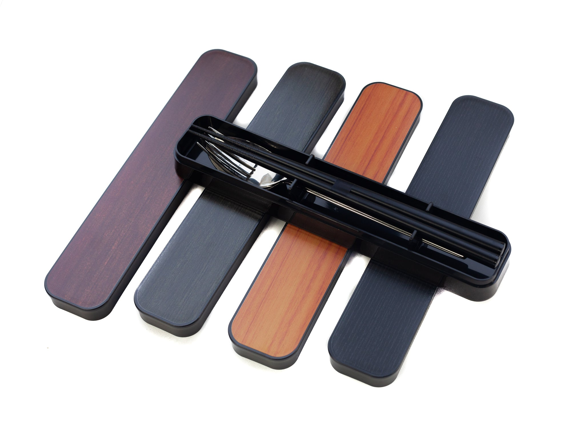 Woodgrain Cutlery Set | Black