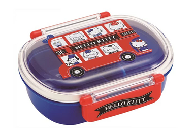 Hello Kitty London Side Lock Bento | Oval by Skater - Bento&co Japanese Bento Lunch Boxes and Kitchenware Specialists