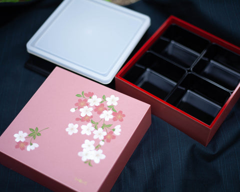 Two-Tier Cherry Blossom Square Bento Box  | Pink by Showa - Bento&co Japanese Bento Lunch Boxes and Kitchenware Specialists