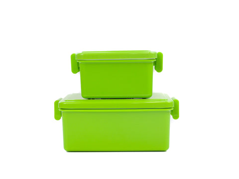 Gel Cool Square Bento Set (400+220ml) | Asparagus Green