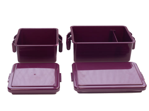 Gel Cool Square Bento Set (400+220ml) | Onion Purple