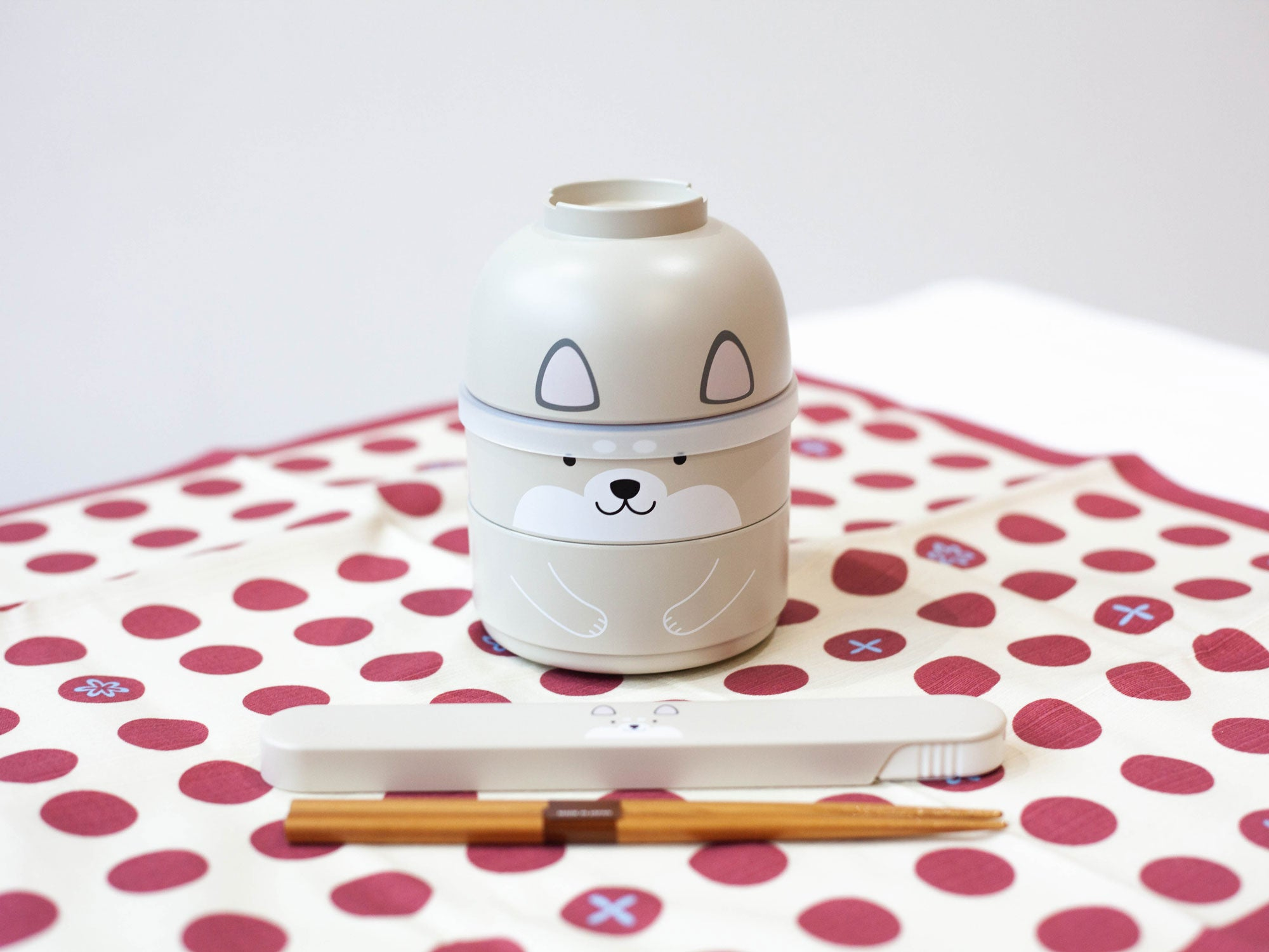 Kokeshi Shiba Inu Chopsticks Set | Grey by Hakoya - Bento&co Japanese Bento Lunch Boxes and Kitchenware Specialists