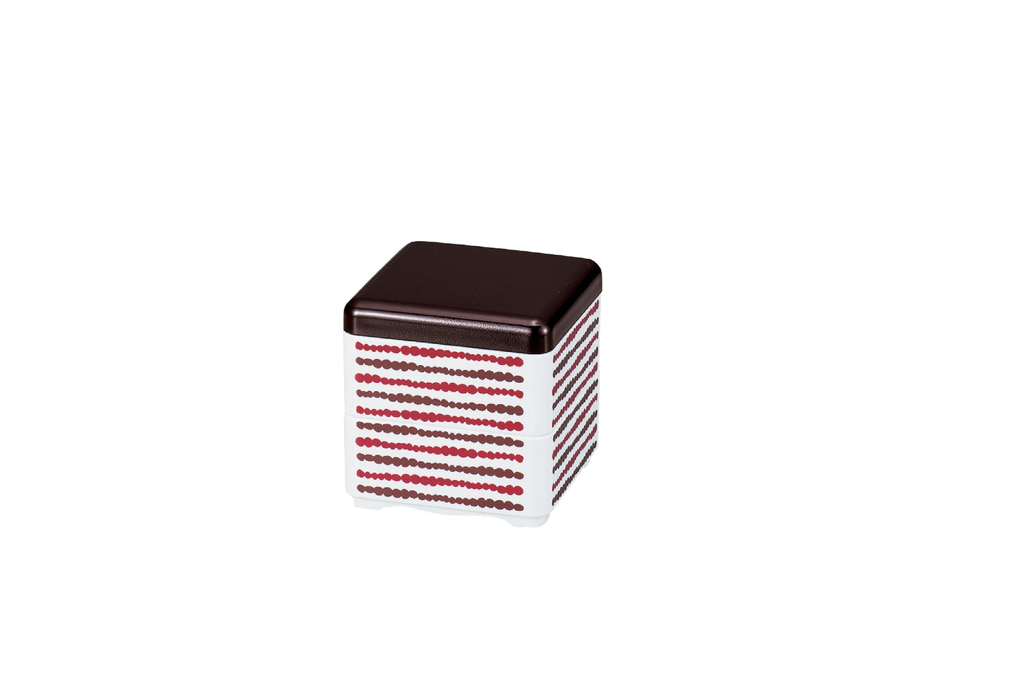 Mini Bento Box | Dot Stripes Red and Brown