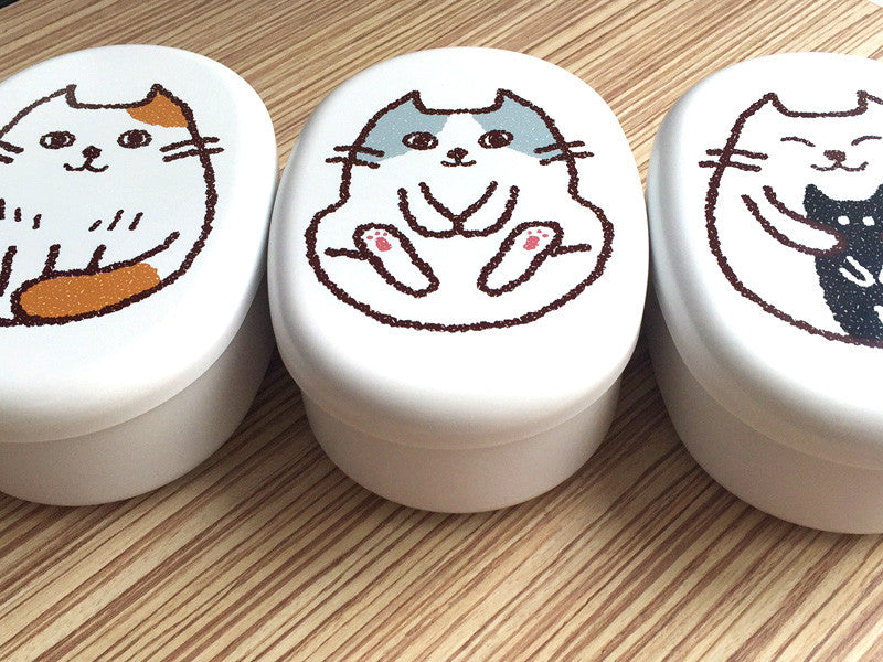 Oval Cat Bento Box | Kamatte White by Hakoya - Bento&co Japanese Bento Lunch Boxes and Kitchenware Specialists