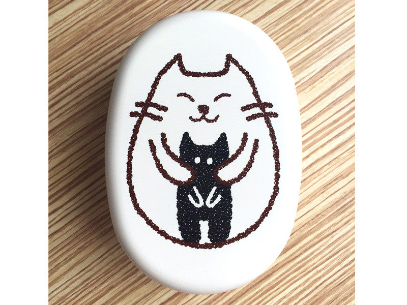 Oval Cat Bento Box | Dakko White by Hakoya - Bento&co Japanese Bento Lunch Boxes and Kitchenware Specialists
