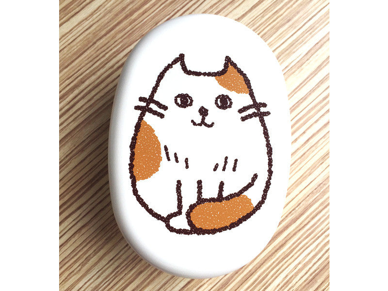 Oval Cat Bento Box | Osumashi White by Hakoya - Bento&co Japanese Bento Lunch Boxes and Kitchenware Specialists