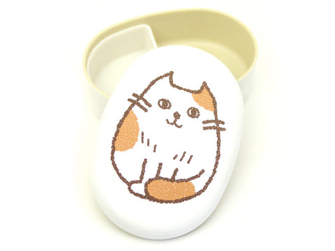 Oval Cat Bento Box | Kamatte White by Hakoya - Bento&con the Bento Boxes specialist from Kyoto
