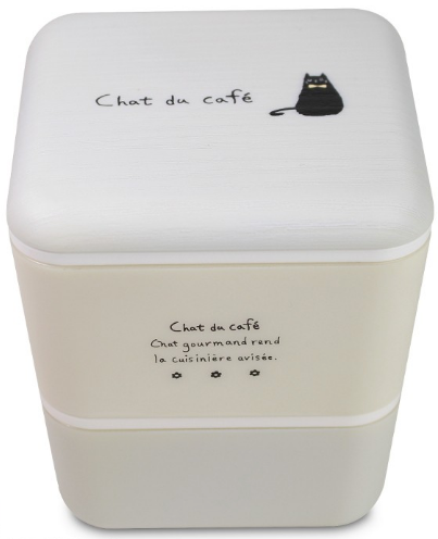 Chat du Cafe Square Wood Bento Box | White by Showa - Bento&co Japanese Bento Lunch Boxes and Kitchenware Specialists