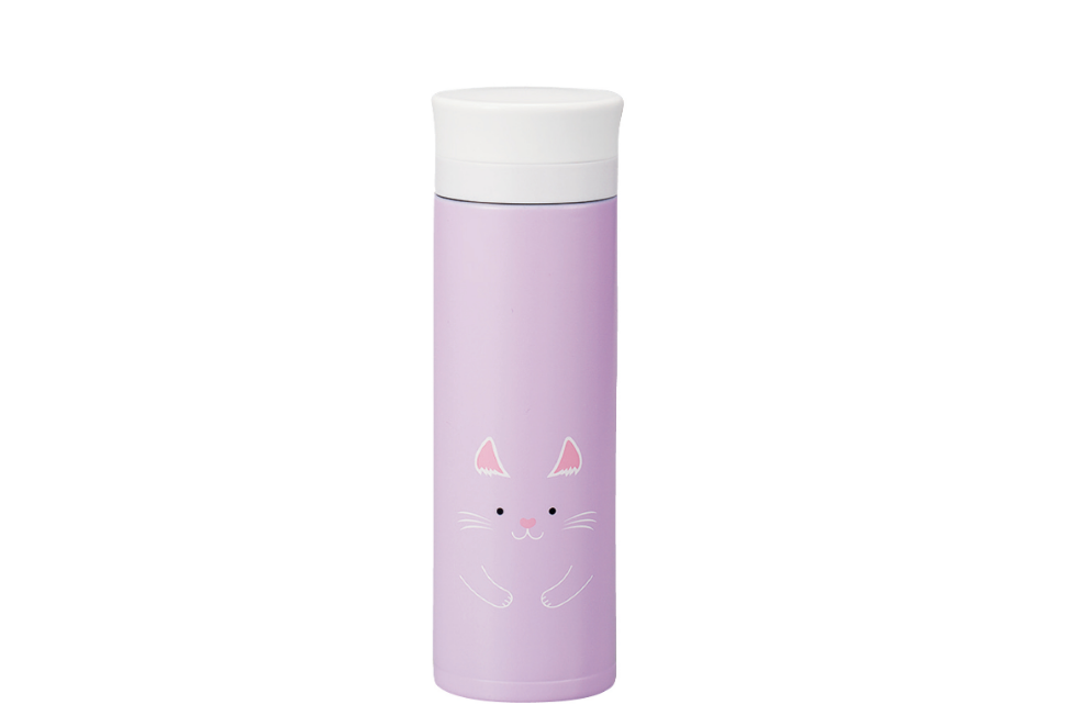 Kokeshi Neko Stainless Steel Bottle | Purple