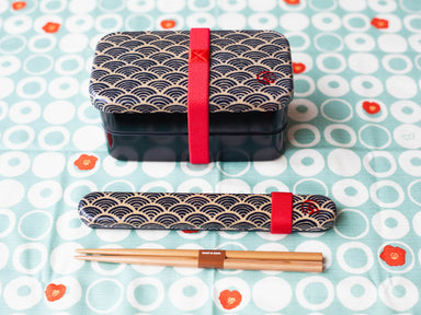 Wafu Cloth Rectangle Bento Box Small | Ocean Wave by Hakoya - Bento&co Japanese Bento Lunch Boxes and Kitchenware Specialists