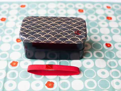 Wafu Cloth Rectangle Bento Box Small | Ocean Wave