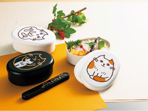 Oval Cat Bento Box | Kamatte Black by Hakoya - Bento&con the Bento Boxes specialist from Kyoto