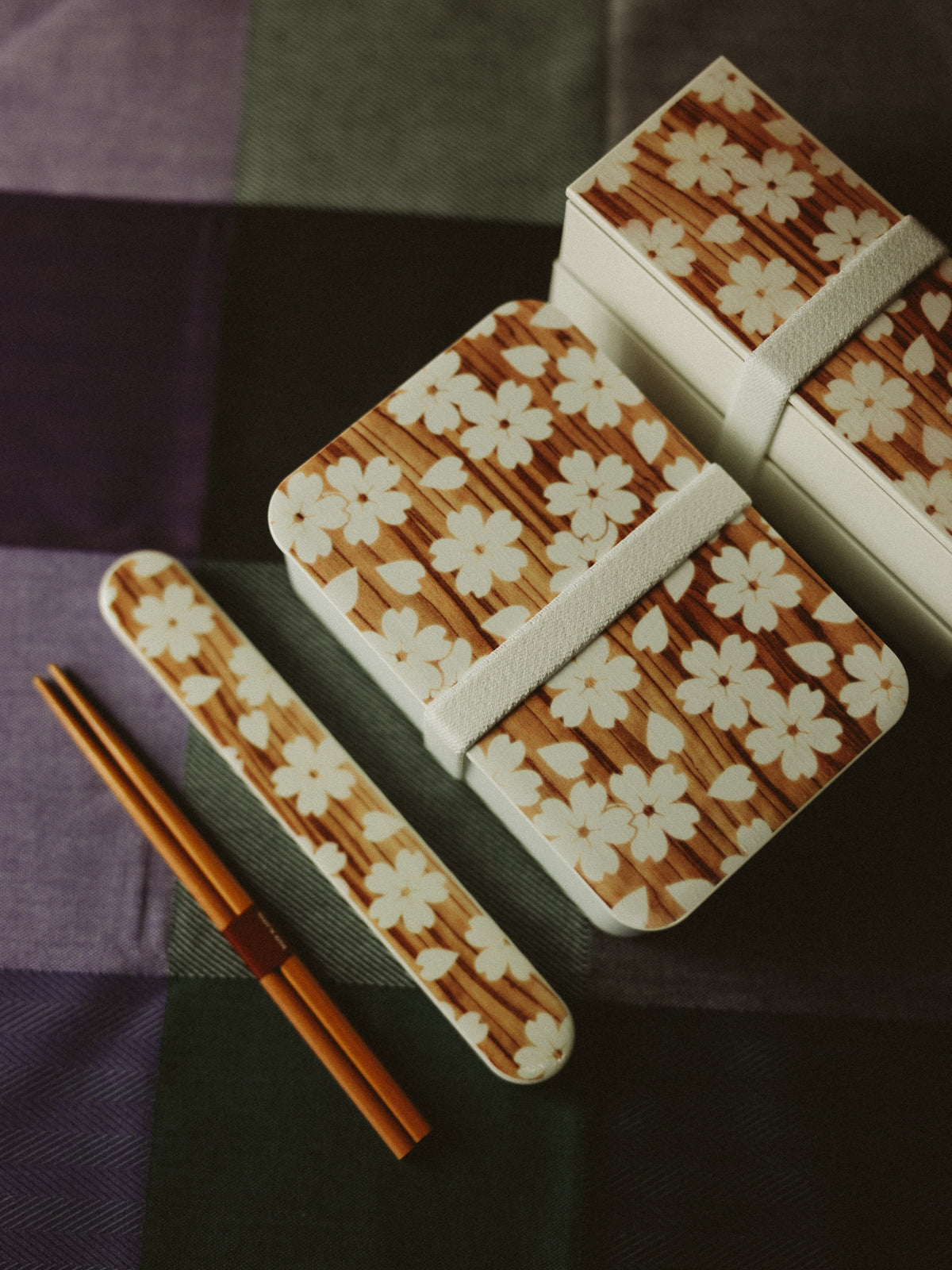 Sakura Mokume One Tier Bento Box | White