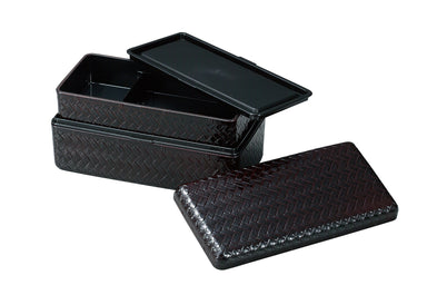 Ajiro Two Tier Bento Box Tall | Black by Hakoya - Bento&co Japanese Bento Lunch Boxes and Kitchenware Specialists
