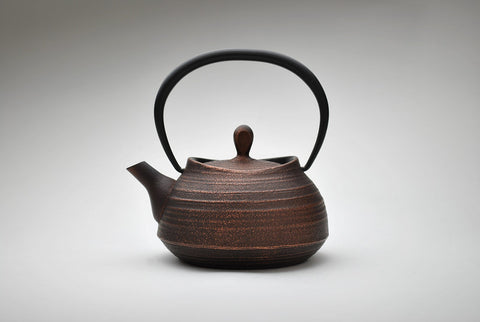 Enamel Brush Marks Teapot | Burnished Copper