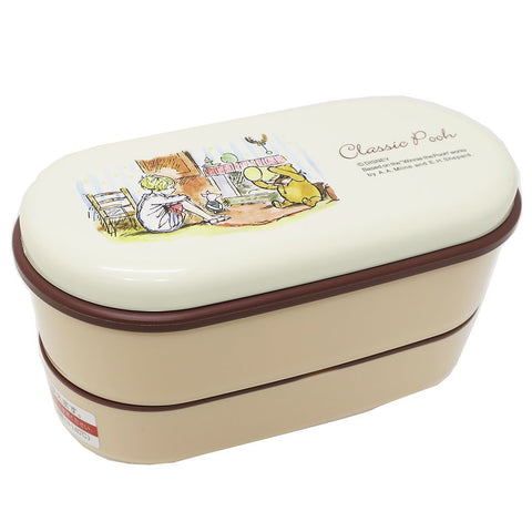 Classic Pooh Two Tier Oval Bento Box 630ml by Skater - Bento&co Japanese Bento Lunch Boxes and Kitchenware Specialists