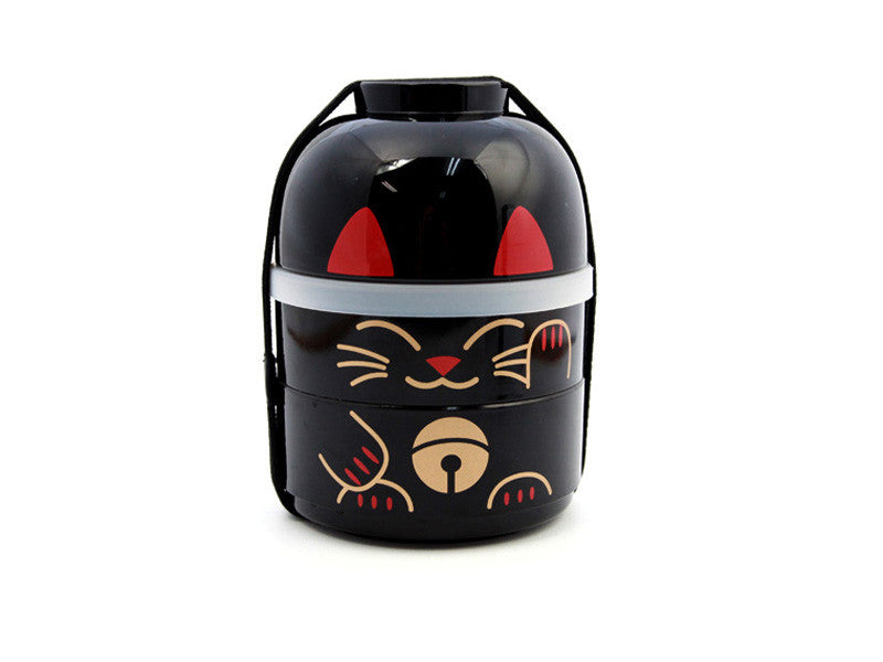 Kokeshi Bento Maneki-Neko Black by Hakoya - Bento&con the Bento Boxes specialist from Kyoto