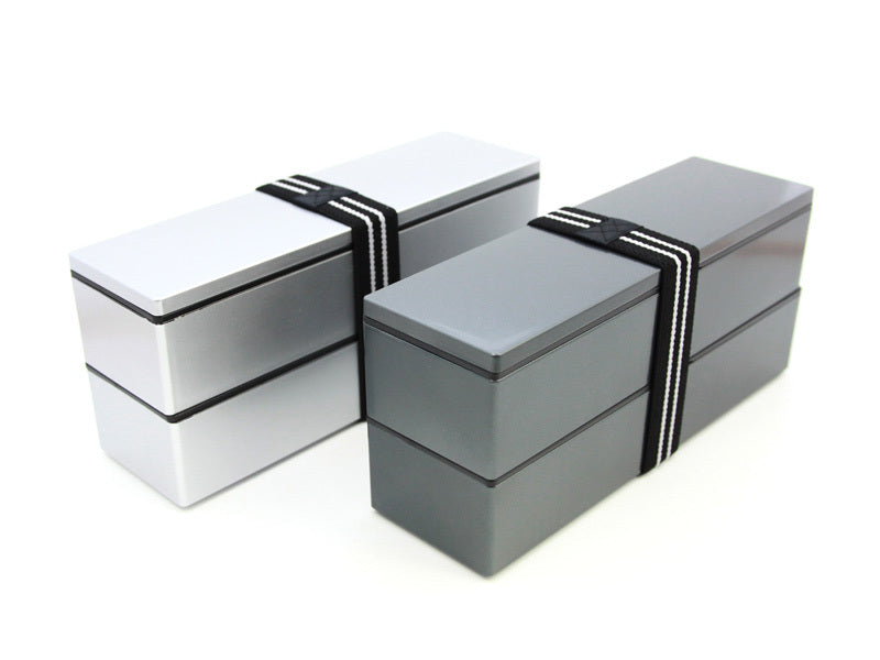 Nagabako Metallic Two Tier Bento Box | Silver by Hakoya - Bento&co Japanese Bento Lunch Boxes and Kitchenware Specialists