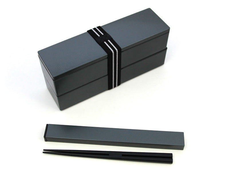 Nagabako Metallic Two Tier Bento Box | Black by Hakoya - Bento&co Japanese Bento Lunch Boxes and Kitchenware Specialists