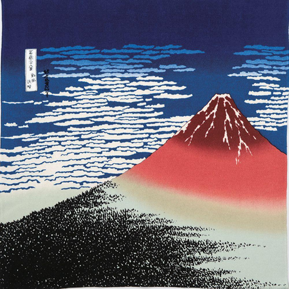 Hokusai Ukiyo-e Furoshiki Rayon | South Wind, Clear Sky (The Red Fuji)