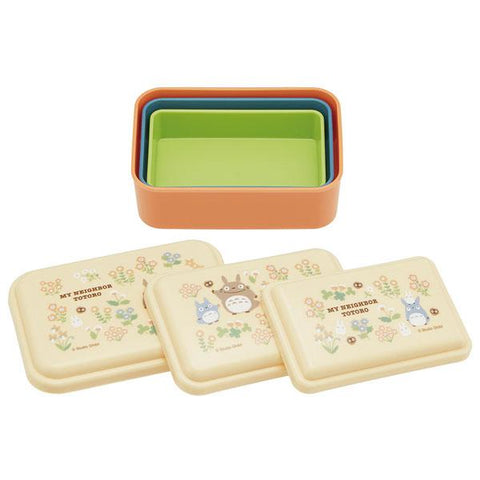 Totoro Flower Orange Box 3P set by Skater - Bento&co Japanese Bento Lunch Boxes and Kitchenware Specialists