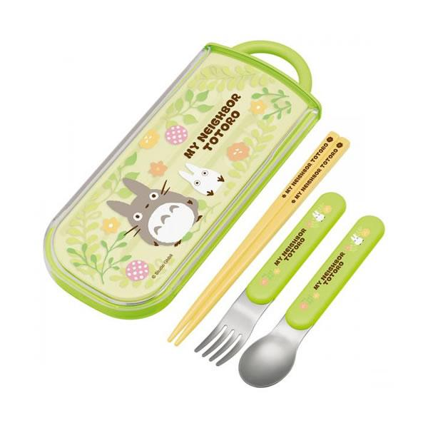 Totoro Plants Cutlery Set (with slide case) by Skater - Bento&co Japanese Bento Lunch Boxes and Kitchenware Specialists