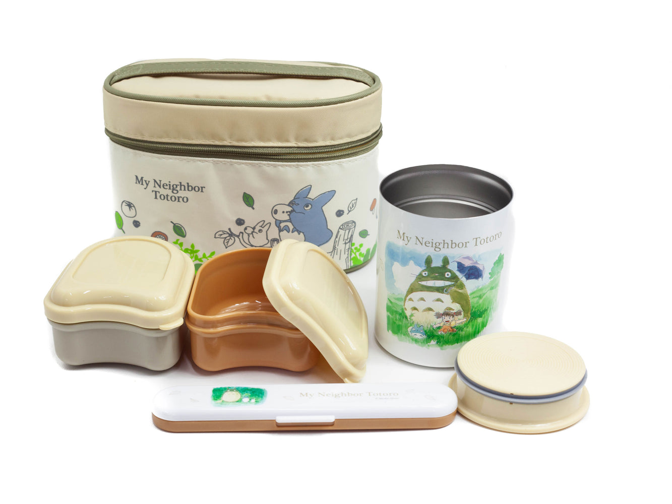 Totoro Thermal Lunch Set Ivory by Skater - Bento&co Japanese Bento Lunch Boxes and Kitchenware Specialists
