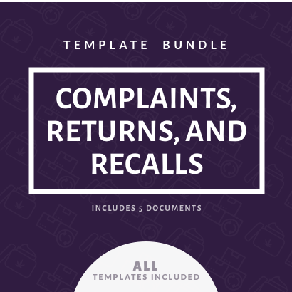 Complaints, Returns, and Recalls Template Bundle