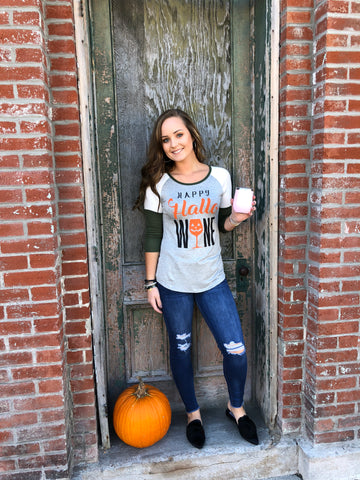 Happy Hallo-WINE Color Block Sleeve Tee