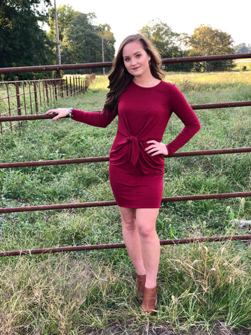 Burgundy Knit Tie Front Dress