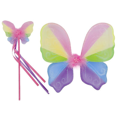 Multicoloured Snazzy Sparkle Wings & Wand Set - Great Pretenders