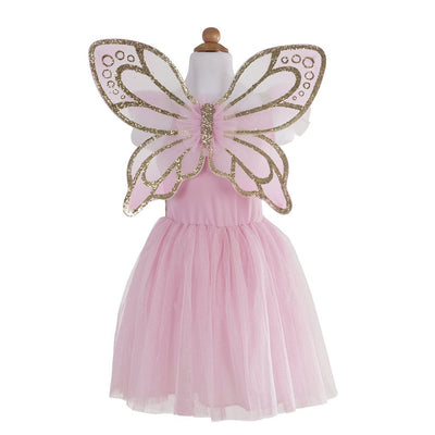 Gold Butterfly Dress with Fairy Wings - Great Pretenders