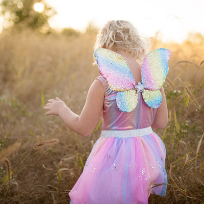 Rainbow Sequins Skirt, Wings & Wand