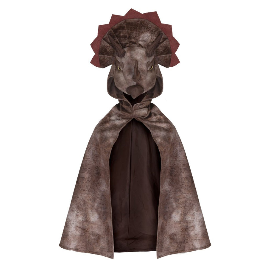 Triceratops Hooded Cape Brown