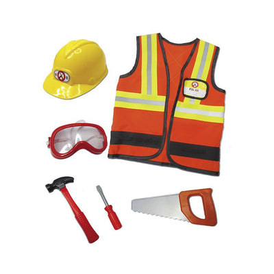 Construction Worker with Accessories in Garment Bag - Great Pretenders