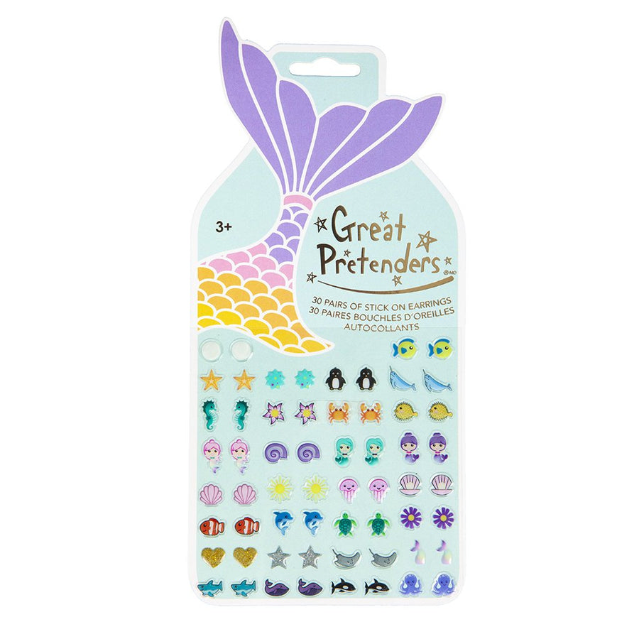 Mermaid Sticker Earrings 60 Pcs Carded - Great Pretenders