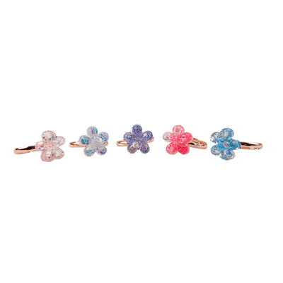 Boutique Shimmer Flower Rings (5 pcs)