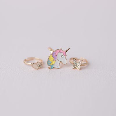 Boutique Butterfly & Unicorn Ring (3 pcs)