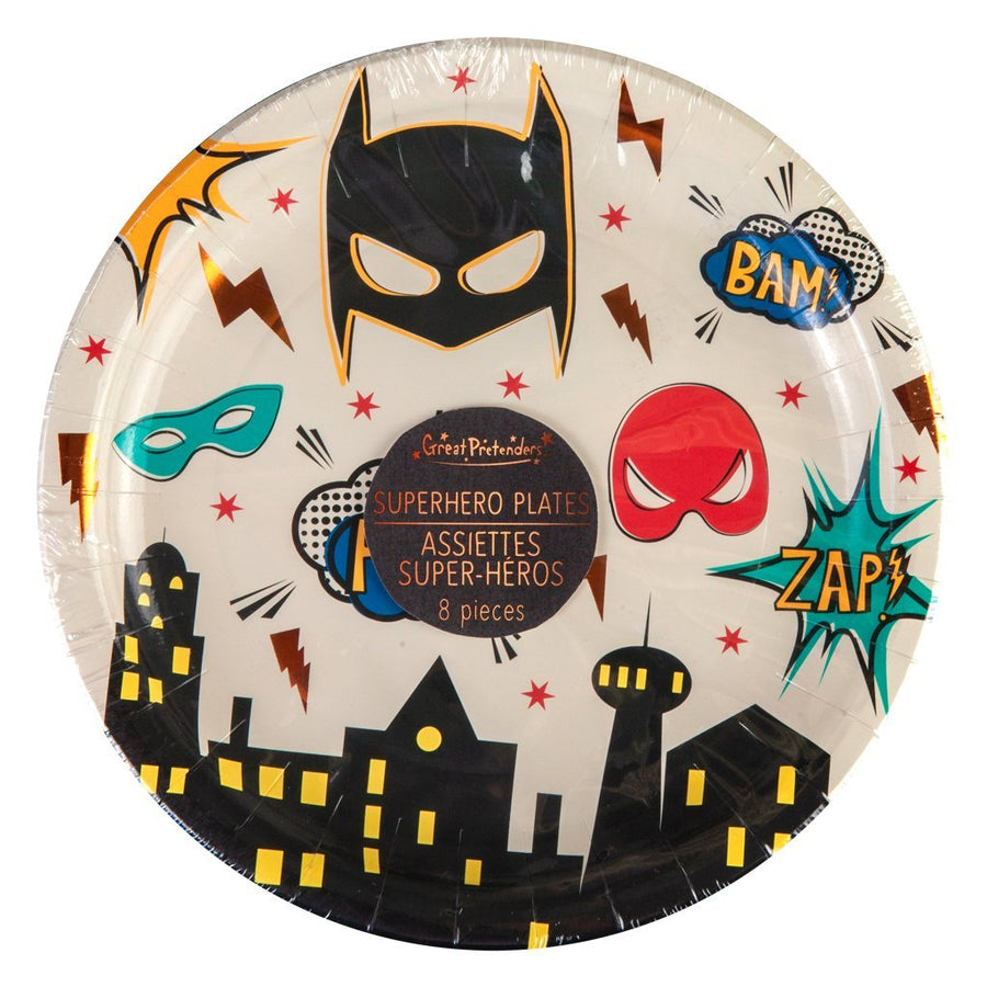Plates - Party - Superhero LARGE - 23cm (8 pcs)