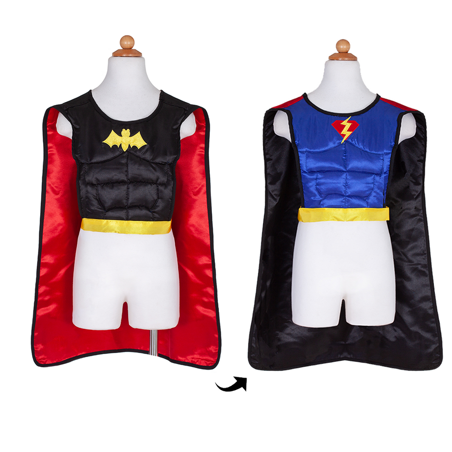 Reversible Superhero Bat Tunic with cape and mask