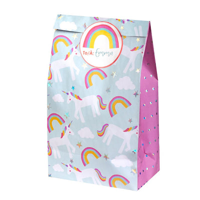 Treat Bags with Stickers - Unicorn (8 pcs)
