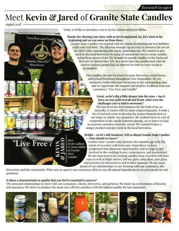 Granite State Candles in the Boston Voyager Magazine!