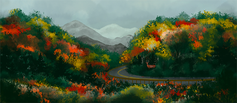 Fall Highway - Autumn Lodge